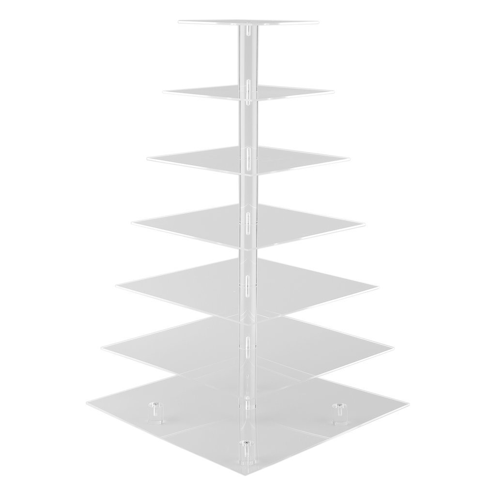 GOGOUP 7 Tier Acrylic Square Cupcake Stand, Wedding/Birthday Party Clear Tree Tower Cake Display Shelf