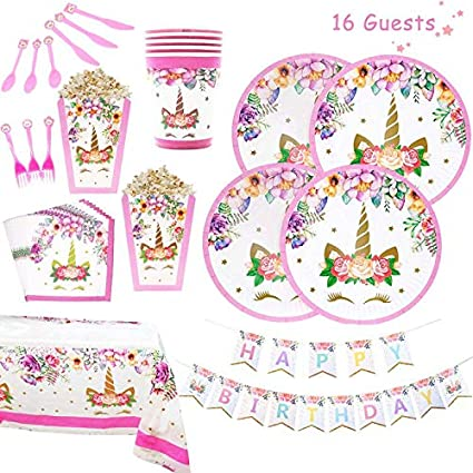 Amazon.com: Xplanet Unicorn Party Supplies Set - Juego de 16 ...