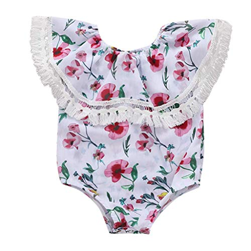 Fashion Newborn Infant Baby Girl Bodysuit Clothes Tassel Floral One Shoulder Jumpsuit Romper Sunsuit Outfits Set White 0-6 M