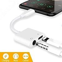 Adaptateur de Casque pour iPhone 11 d'écouteurs vers Prise Jack 3,5 mm AUX Audio Convertisseur de câble pour iPhone 7/7Plus/8/8Plus/X/XR/XS 2 en 1 [Audio+Recharge] Adaptateur Support Tous iOS-Blanc
