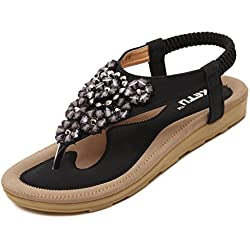 Meeshine Women's Summer Thong Flat Sandals T-Strap Bohemian Rhinestone Slip On Flip Flops Shoes (10 B(M) US, Floral Black)