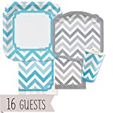 Big Dot of Happiness Chevron Blue and Gray - Party Tableware Plates, Cups, Napkins - Bundle for 16