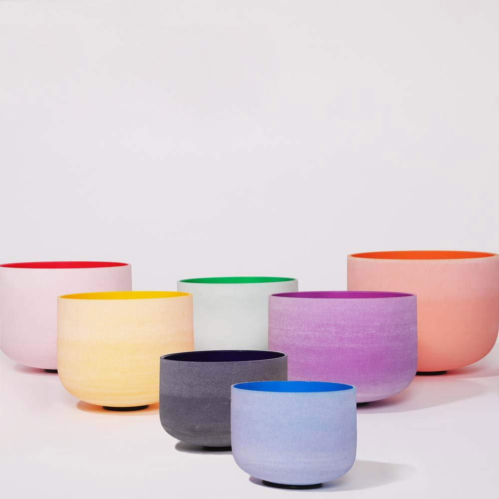 Chakra Tuned Set of 7 Pieces of Color Frosted Quartz Crystal Singing Bowls 6''-12'' + mallets & O-rings by Unknown