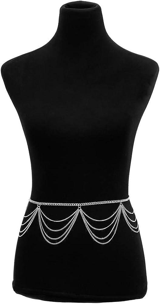 Women Retro Metal Chain Belt High Waist Fashion Dress Belt