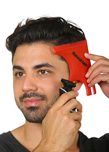 RevoHair Haircut Tool - Multi-Curve Hairline Template/Stencil/Guide For Men - Barber Supplies - Lightweight - With Hair & Beard Comb - Lineup & Edge up - Do it Yourself ()