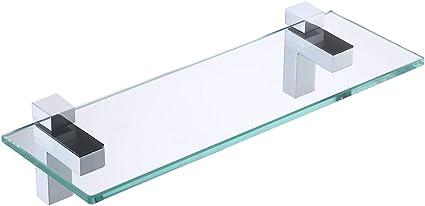 BGS3202S35 KES Mensola in vetro da bagno con fondo in vetro e asta vetro temperato 350 X 118 MM cromato