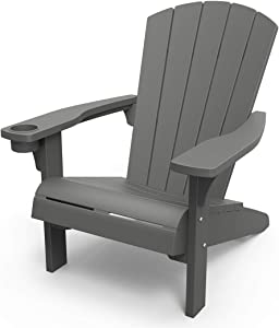 Keter Furniture Patio Chairs with Cup Holder - Perfect for Beach, Pool, and Fire Pit Seating, Dark Grey