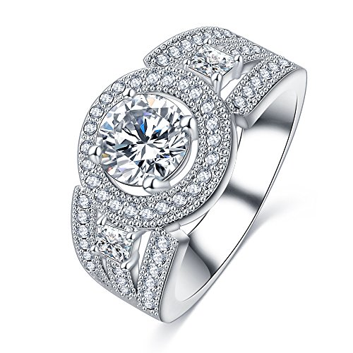 Evertrust (TM)Latest Promise Jewelry Rings Platinum Plated AAA Cubic Zircon Inlay Simple Wedding Rings for Lady CRI0404-B by EverTrust