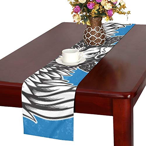 (WUTMVING Detailed Hand Drawn Eagle Holding Scroll Table Runner, Kitchen Dining Table Runner 16 X 72 Inch for Dinner Parties, Events, Decor)