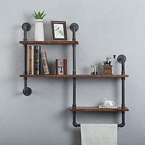 Wendy JINGQI Industrial Pipe Shelf for Home Organizer Storage, 4 Tiers Rustic Urban Style Metal Wall Mounted Ledge Bookcase Shelf Rustic Modern Wood Ladder Pipe Wall Shelf ()