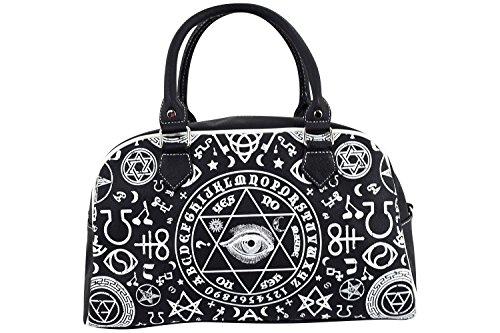 Banned Gothic Black Magic Occult Pentagram & Esoteric Symbols Bowler (Bowler Handbag Bag)