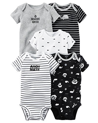 Carters Baby Boys 5 Pack Bodysuits (Baby) (Newborn, Ahoy Mate)