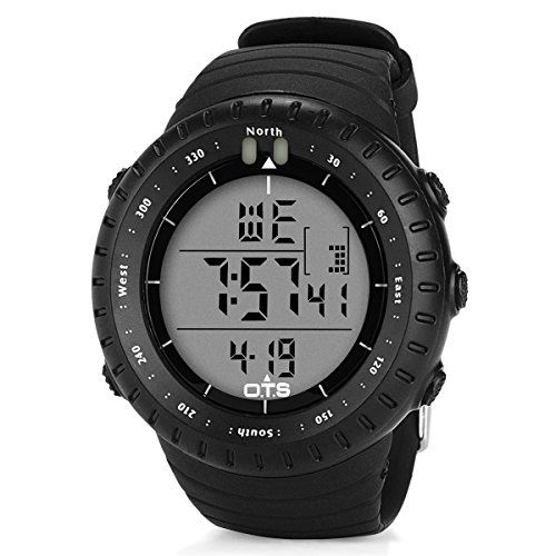 PALADA Men's Outdoors Sports Digital Wrist Watch Waterproof Tactical Watch with LED Backlight