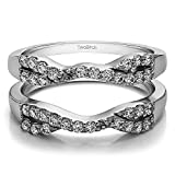 TwoBirch Sterling Silver Infinity Cross Wedding Ring Guard Enhancer with Cubic Zirconia (0.51 ct. tw.)