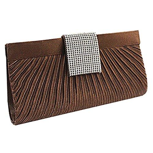 YYW Pleated Clutch Bag - Cartera de mano para mujer coffee color