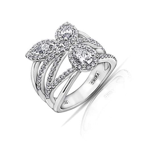 (Diamonbliss Sterling Silver Cubic Zirconia Multi-Stone Band Ring- Size)
