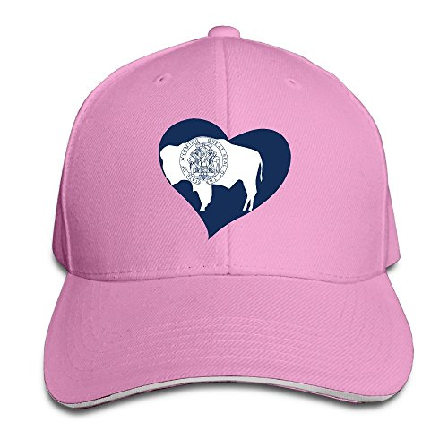Cute Love Wyoming Flag Pink Adjustable Snapback Caps Unisex Sandwich Hats