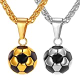 Stainless Steel Black Enamel & White Soccer Ball Pendant With 22 Inch Wheat Chain