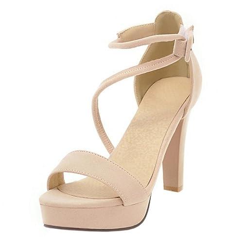 3e11fce92 RAZAMAZA Mujer Moda Tacón Alto Sandalias Correa de Tobillo  Amazon.es   Zapatos y complementos