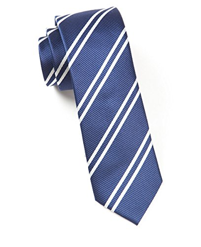 The Tie Bar 100% Woven Silk Skinny Navy Striped ()