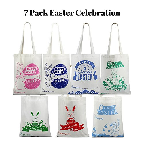[HUGE SAVING LIMITED OFFER] 7 Pack Easter Bag Bunny Canvas Bag With Bunny Easter Egg Hunt Design Bag Carrying Eggs/Gifts for Easter Party,Bunny Cute Tote,Load Up To 65 Lb (Handbag-7Pack)