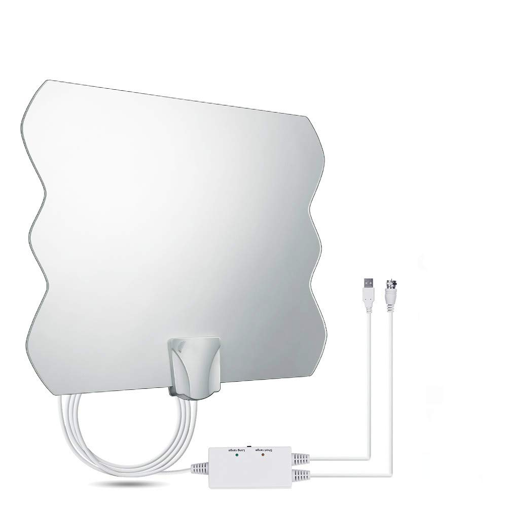 105 Miles Range HDTV Antenna, 2019 Newest High Definition TV Antenna, Indoor Amplified Digital 4K 1080P HD Antenna Free Channels with Antenna Signal Booster - Long Coax Cable