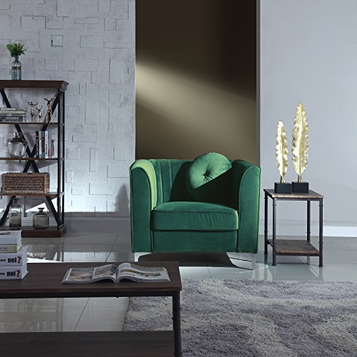 Green Traditional Plush Velvet Living Room Armchair With One