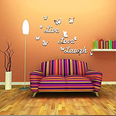 """ufengke® 3D """"Live"""" & """"Love"""" & """"Laugh"""" Butterfly Mirror Effect Wall Stickers Fashion Design Art Decals Home Decoration"""