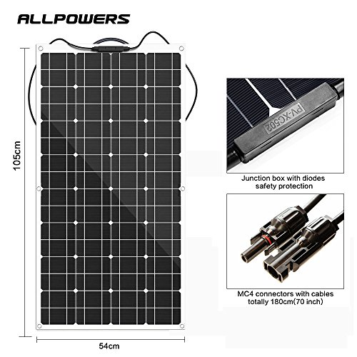 ALLPOWERS-100W-18V-12V-Solar-Panel-Charger-Monocrystalline-Lightweight-Flexible-with-MC4-Connector-Charging-for-RV-Boat-Cabin-Tent-Car-Compatibility-with-18V-and-Below-Devices