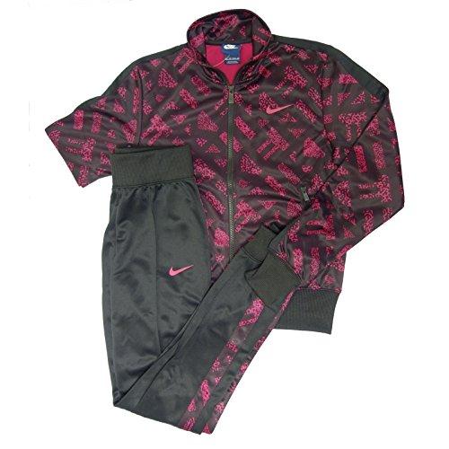 Nike Polyknit Cuffed TS AOP–Tuta per Donna, colore: fucsia/nero, Donna, Fucsia / Nero, XS