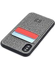 Dockem Luxe M2T plånboksfodral för iPhone X och iPhone XS: smal TPU med syntetiskt läder 2 fickkortfodral med integrerad metallplatta för magnetisk montering