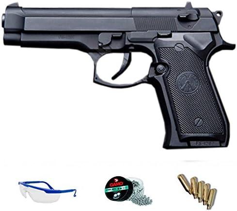 FS 1207 Pack Pistola de Aire comprimido (CO2) y balines de Acero (perdigones BBS) Calibre 4.5mm. Réplica Beretta 02 Full Metal <3,5J