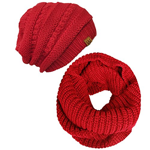 Wrapables Winter Warm Knitted Infinity Scarf and Beanie Hat Set, Red ()