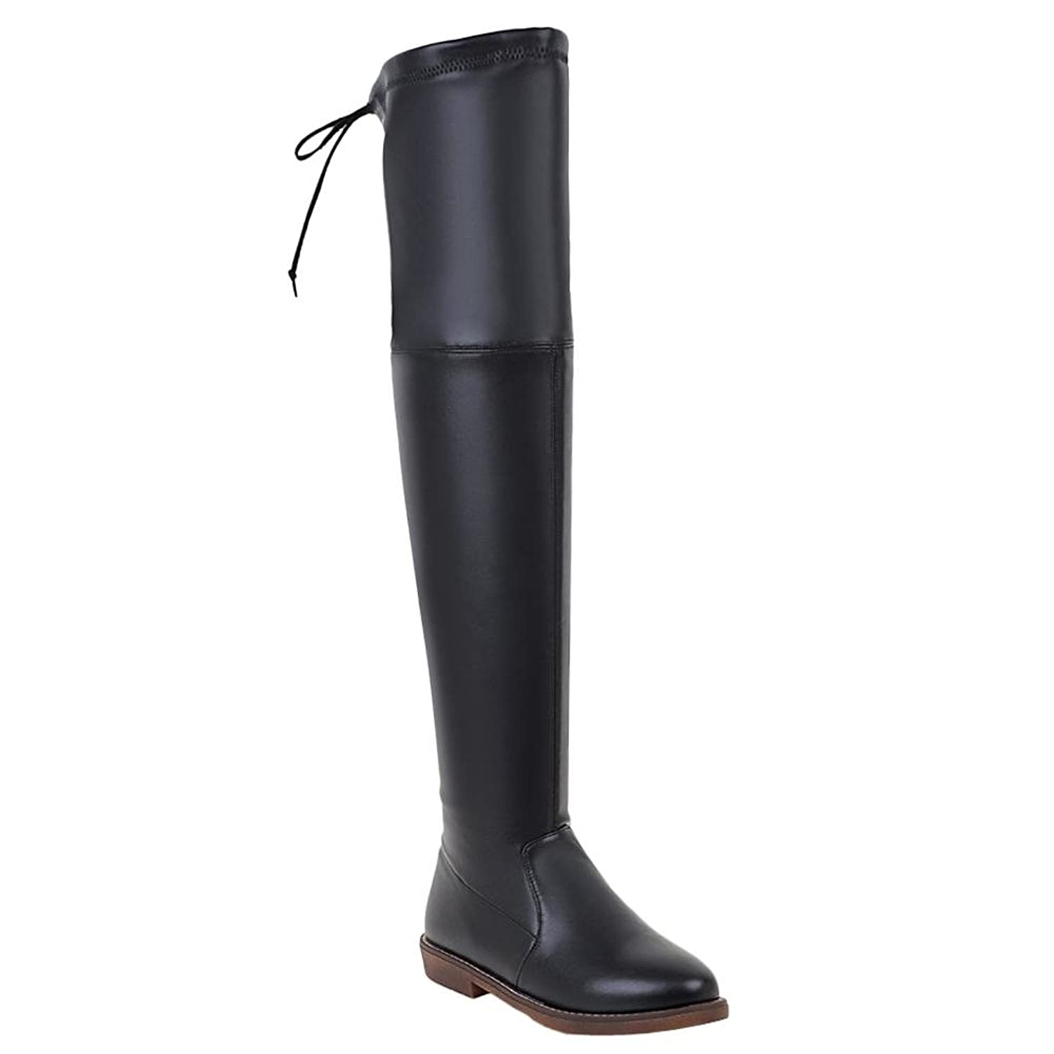 Show Shine Women's Fashion Lacing Low Heel Platform Riding Boots