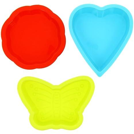Lote de 3 moldes cortadores Pancakes para niños, silicona fluorescente