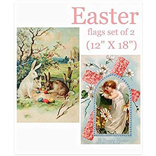 Starowas Vintage Easter Bunny Eggs Garden Flag Set of 2,Reli