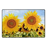 TSWEETHOME Doormat Area Rugs Outdoor Inside Mats Personalized Welcome Mats with Sunflowers for Chair Mat and Decorative Floor Mat for Office and Home (31 x 20 in & 60 x 39 in)