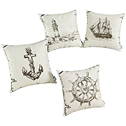 Set of 4 CaliTime Throw Pillow Covers 18 X 18 Inches, Combo Set, Vintage Explore Sailing