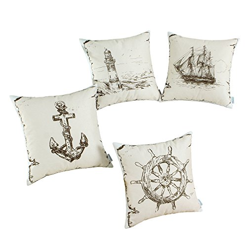 Set of 4, CaliTime Soft Canvas Throw Pillow Covers Cases for Couch Sofa Home Decor, 18 X 18 Inches, Vintage Explore Sailing Nautical Rudder Anchor Sailing Lighthouse