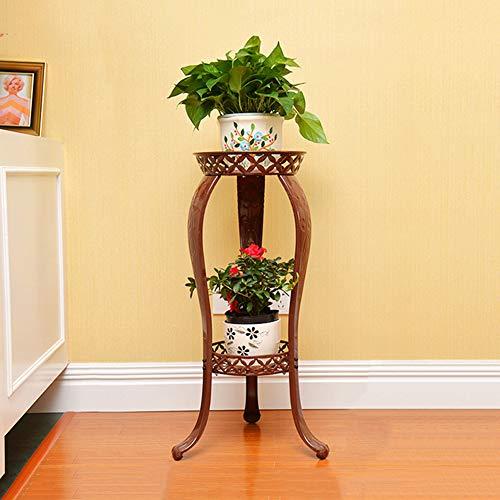 YMXLJJ Iron Flower Stand Floor-Standing Multi-Layer Indoor Plant Stand Rust-Proof Antique Living Room Flower Pot Display Stand Metal Pot Planting Storage Rack,Brass ()