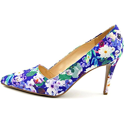 Bar III Womens Joella Pointed Toe Classic Pumps, Blue Floral, Size 9.5