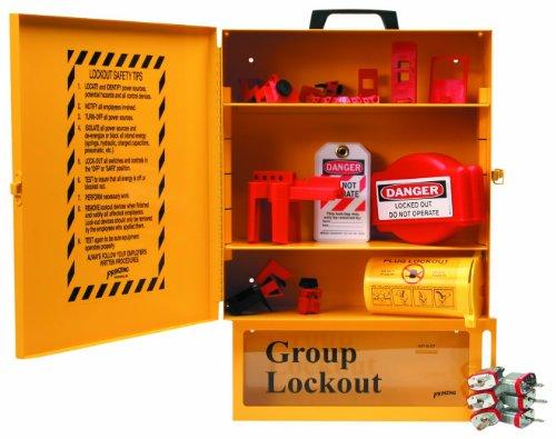 Brady Combined Lockout And Lock Box Station, Legend ''Safety Lockout Center'', Includes 6 Steel Padlocks by Brady