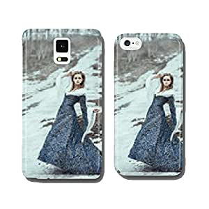 The woman on winter walk with a dog cell phone cover case Samsung S5