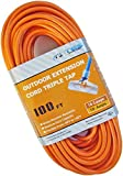 TES 16 Gauge 100 Ft. 16/3 Triple Tap SJTW Medium Duty Extension Cord with Lighted Plug