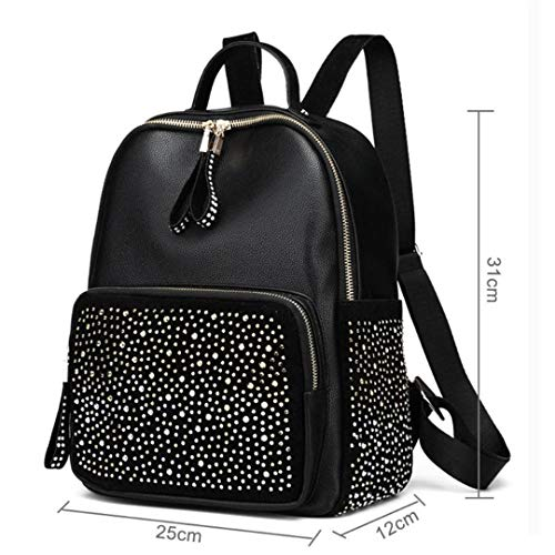 dos Style haute sac retour strass capacité sacs de loisirs Black de cuir de PU voyage femmes femme sacs dos en sacs rpqpIS
