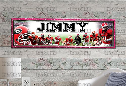 (Customized Name Painting Georgia Bulldogs Poster With Your Name On It Personalized Banner With Hard Frame )