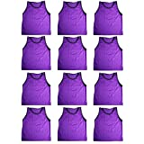 Blue Dot Trading Adult Sports Pinnies High Quality Scrimmage Training Vests (12-Pack), Purple