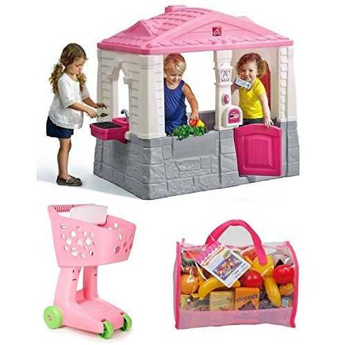 Girls Charming Cottage Playhouse, Lil Shopping Cart Plus 120-Piece Toy Food In Carry Bag, Little Tikes, Pink, Girls Outdoor Activity, Cooking, Social, Pretend Play, Life Skills, Durable, Safe