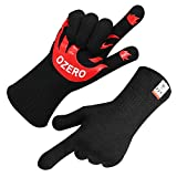 OZERO Grill Gloves, 932°F(500℃) Extreme Heat Resistant Oven BBQ Glove with Silicone Dots - Hot Surface Handler - Flame Retardant and One-Size-fit-Most for Men and Women