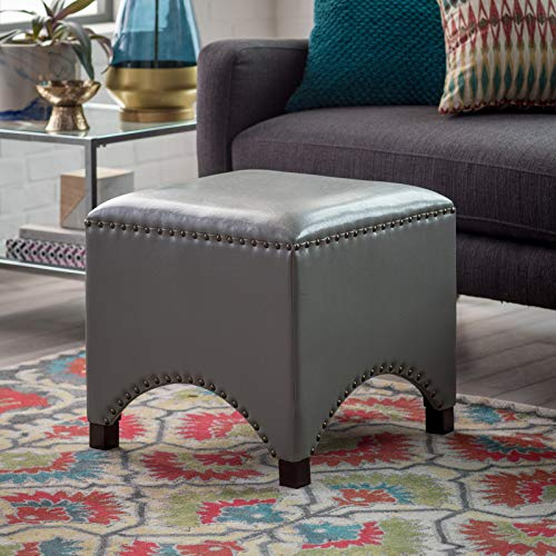 Home Collection Gray Contemporary Bonded Leather Square Ottoman Footstool with Nailhead -